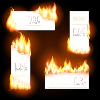 Set of advertisement banners with spurts of flame.