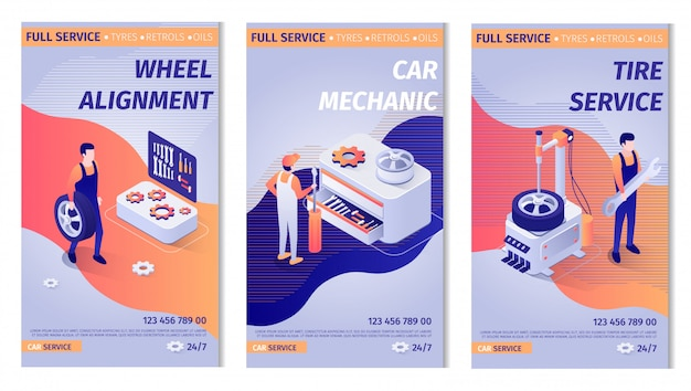 Set of advertisements for service. posters with auto maintenance operation process