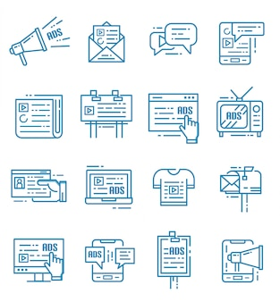 Set of advertising and marketing icons with outline style