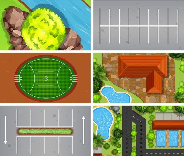 Set di sfondo di scene di vista aerea