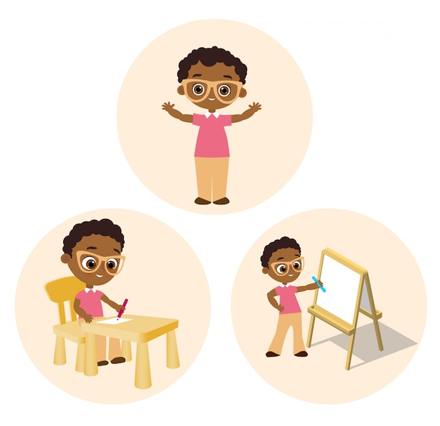 Set african american boy with glasses.vector illustration