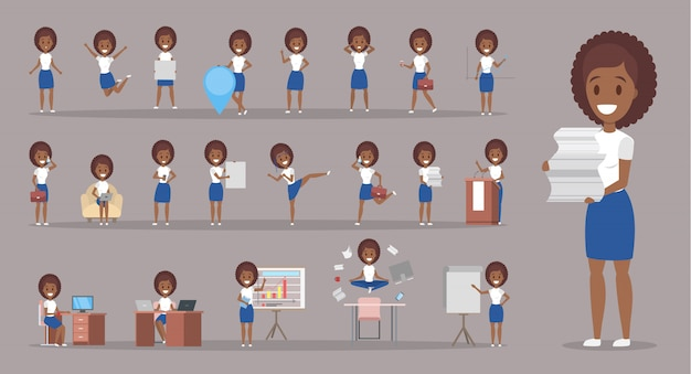 Set of african american business woman or office worker character with various poses, face emotions and gestures. talking on the phone, sitting and jumping.    illustration