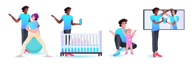 アフリカ系アメリカ人の父親が家族と過ごし、家で家事をしている父親の子育てのコンセプトの横長の完全な長さのイラストを設定