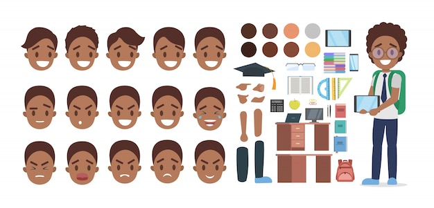 Set of african american school boy character in suit with various poses, face emotions and gestures.