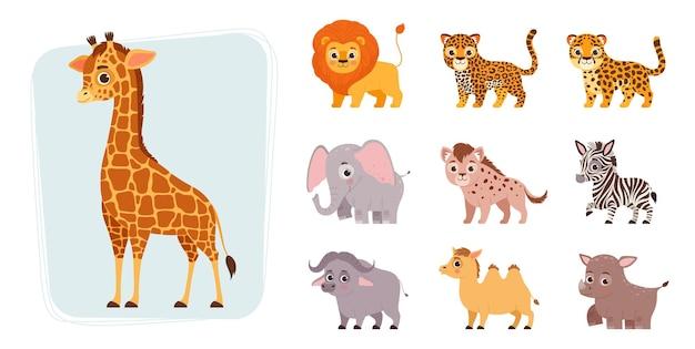 Set of african animals in cute cartoon style giraffe lion leopard cheetah elephant