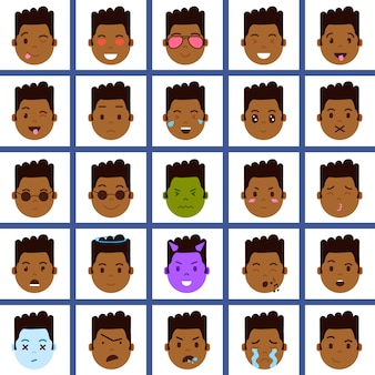 Set african boy head emoji personage icon with facial emotions, avatar character, face with different male emotions concept