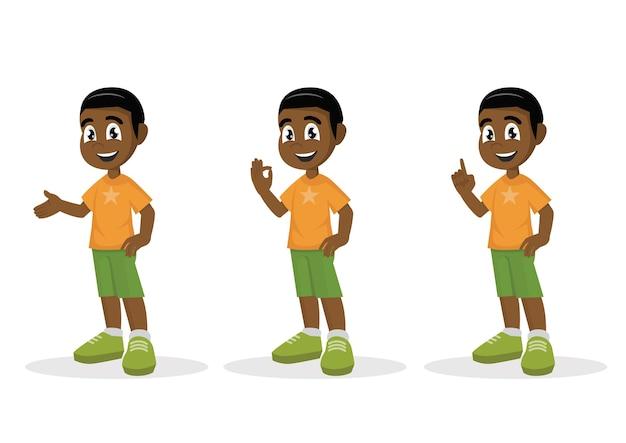 設定アフリカの男の子ポーズ。