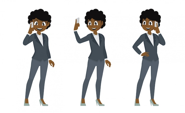 Set african business woman talking on mobile phone.