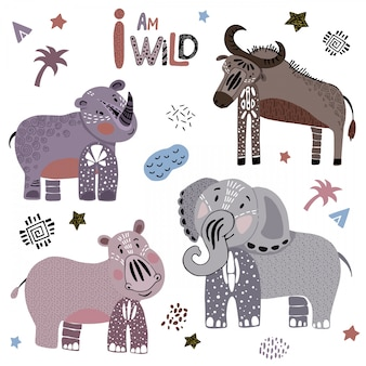 Set of african cartoon animals on white
