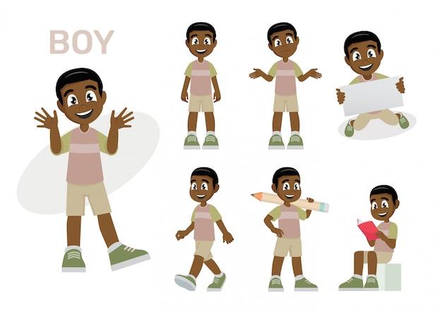 Set african children boys kids.