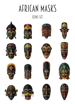 Set of african ethnic tribal masks . ritual symbols.