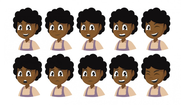 Set of african girl emotions.