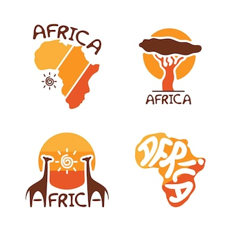 Set of african logo templates