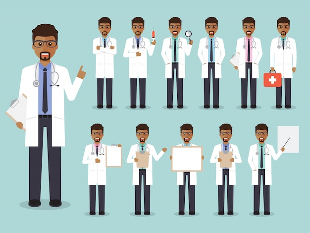 Set of african male doctors, medical staff.