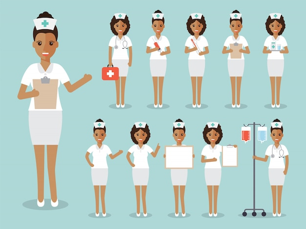 Set of african nurses and medical staff.