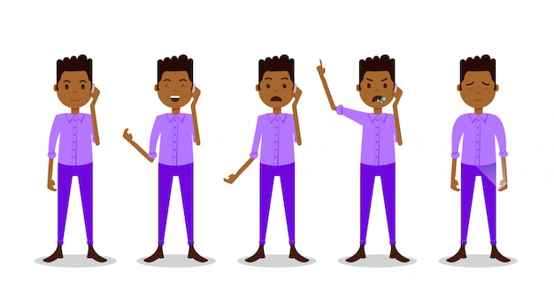 Set african teen boy character different poses and emotions phone call male violet suit
