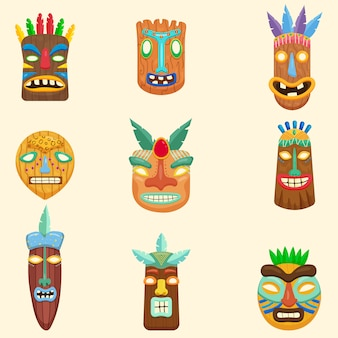 Set of african, zulu, mexican, indian, inca or aztec masks  on white background