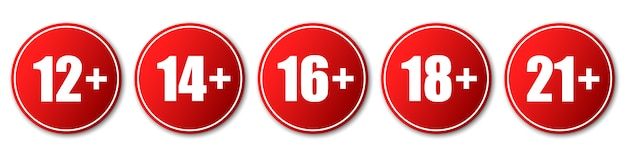 Set of age restriction signs.