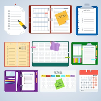 Set of agenda notebooks. flat vector cartoon illustration. objects isolated on a white background.