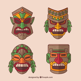 Set of aggressive tiki masks