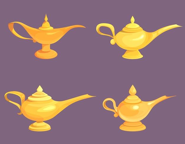 Set of agic lamp illustrations