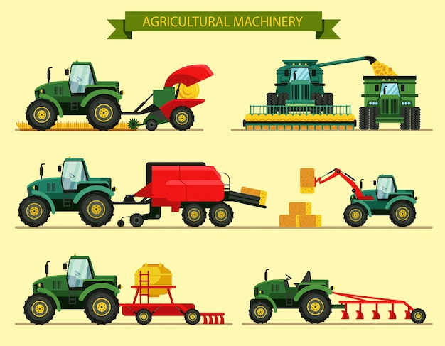 Set agricultural machinery vector illustration.