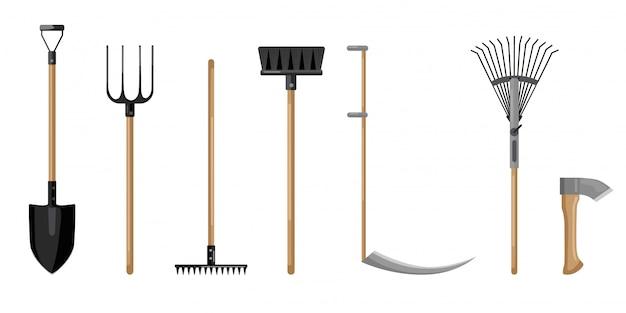 Set agricultural on white backdrop. shovel, pitchfork, broom, axe, scythe,rake flat style