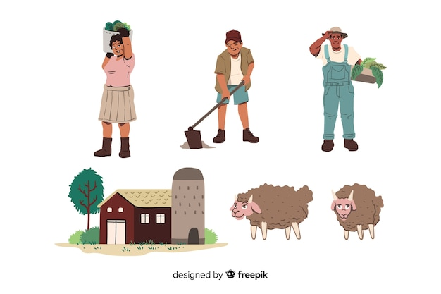 Set of agricultural workers illustrated
