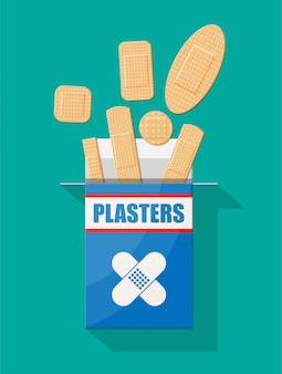 Set of aid medical plaster in various sizes