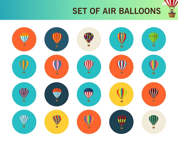 Set of air balloons concept flat icons.