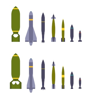 Set of the air bombs. the objects are isolated against the white background and shown from two sides
