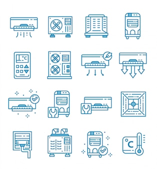 Set of air conditioner icons with outline style