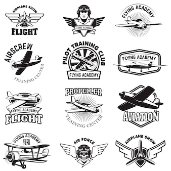 Set of air force, airplane show, flying academy emblems. vintage planes.  elements for , badge, label.  illustration.