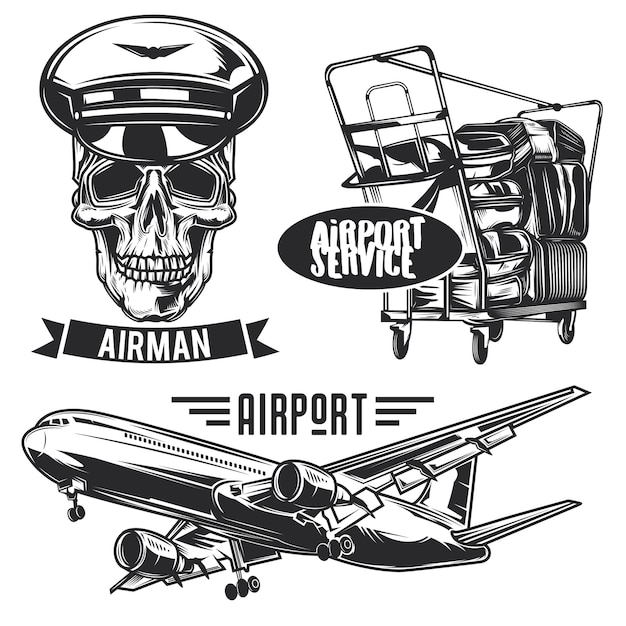 Set of air travel emblems, labels, badges, logos. isolated on white