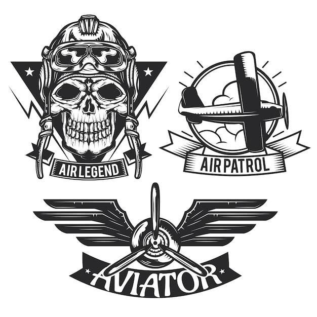 Set di emblemi di elementi di aeromobili, etichette, distintivi, loghi.