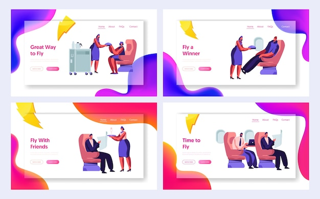 Set of airline service website landing page templates.