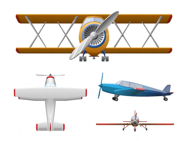 Set of airplane in cartoon style isolated. agricultural propeller plane