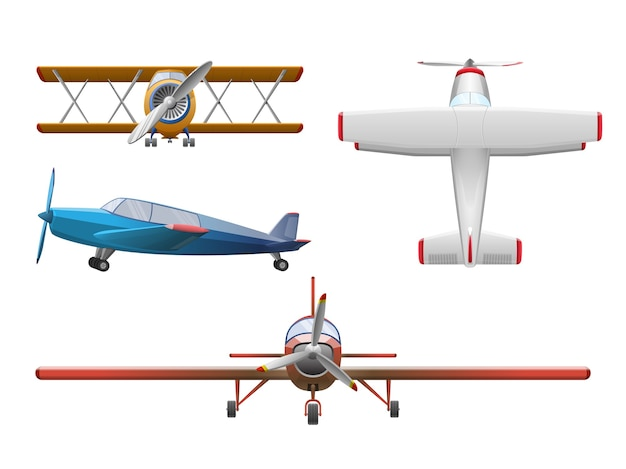 Set of airplane in cartoon style isolated on white
