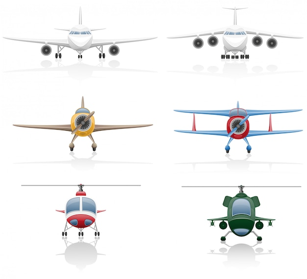 Set of airplane and helicopter vector illustration