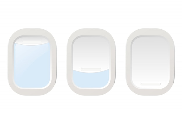 Set airplane illuminators. vector illustration