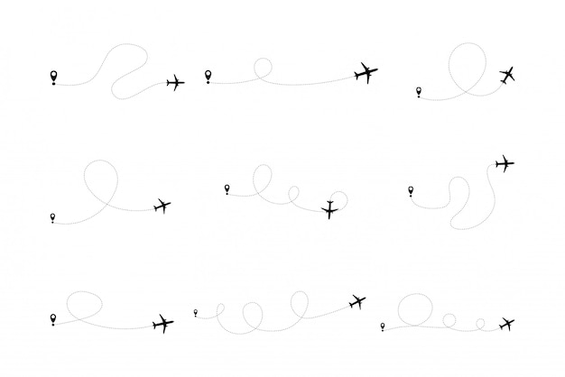 Set of airplane line path of air plane flight route with start point and dash line trace.