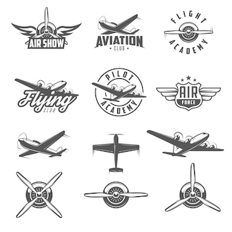 Set of airplane show labels and elements.