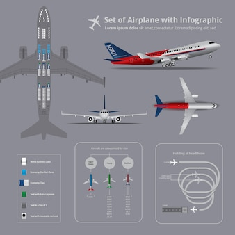 Set of airplane with infographic