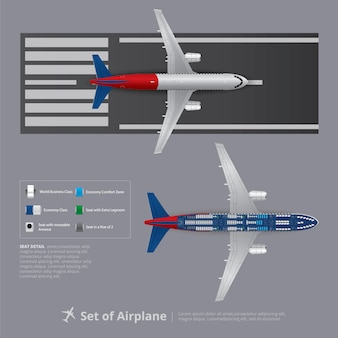 Set of airplane with seat map isolated vector illustration