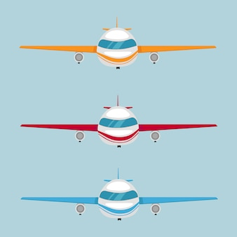 Set of airplanes of different colors and designs. airplane for flights. vector illustration eps10
