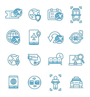 Set of airport and airplane icons with outline style.