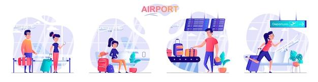 사람들이 문자의 공항 평면 디자인 컨셉 일러스트 설정