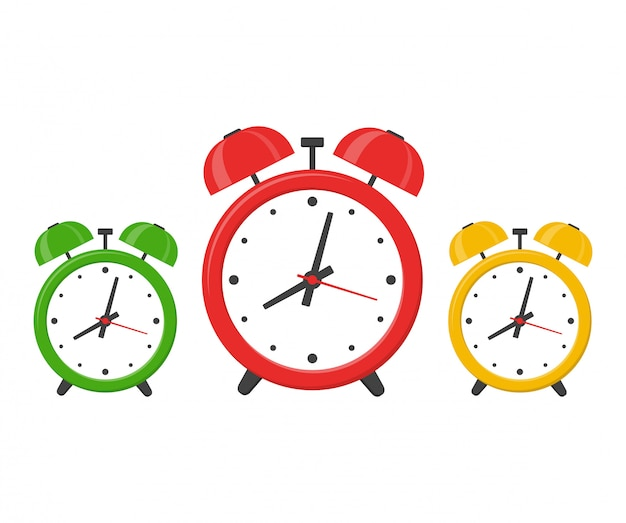 Set alarm clocks isolated on white background in flat style.