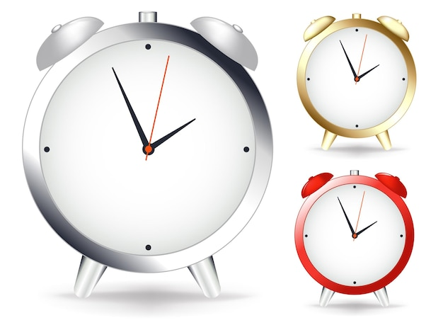 Set of alarmclocks on wall, isolated on white
