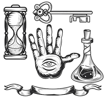 Set of alchemy elements for creating your own badges, logos, labels, posters etc.